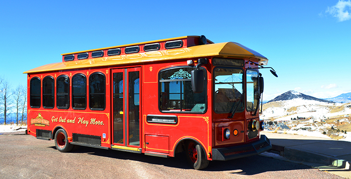 The Cripple Creek Trolley is a 2014 Carriage Low Floor Trolley.